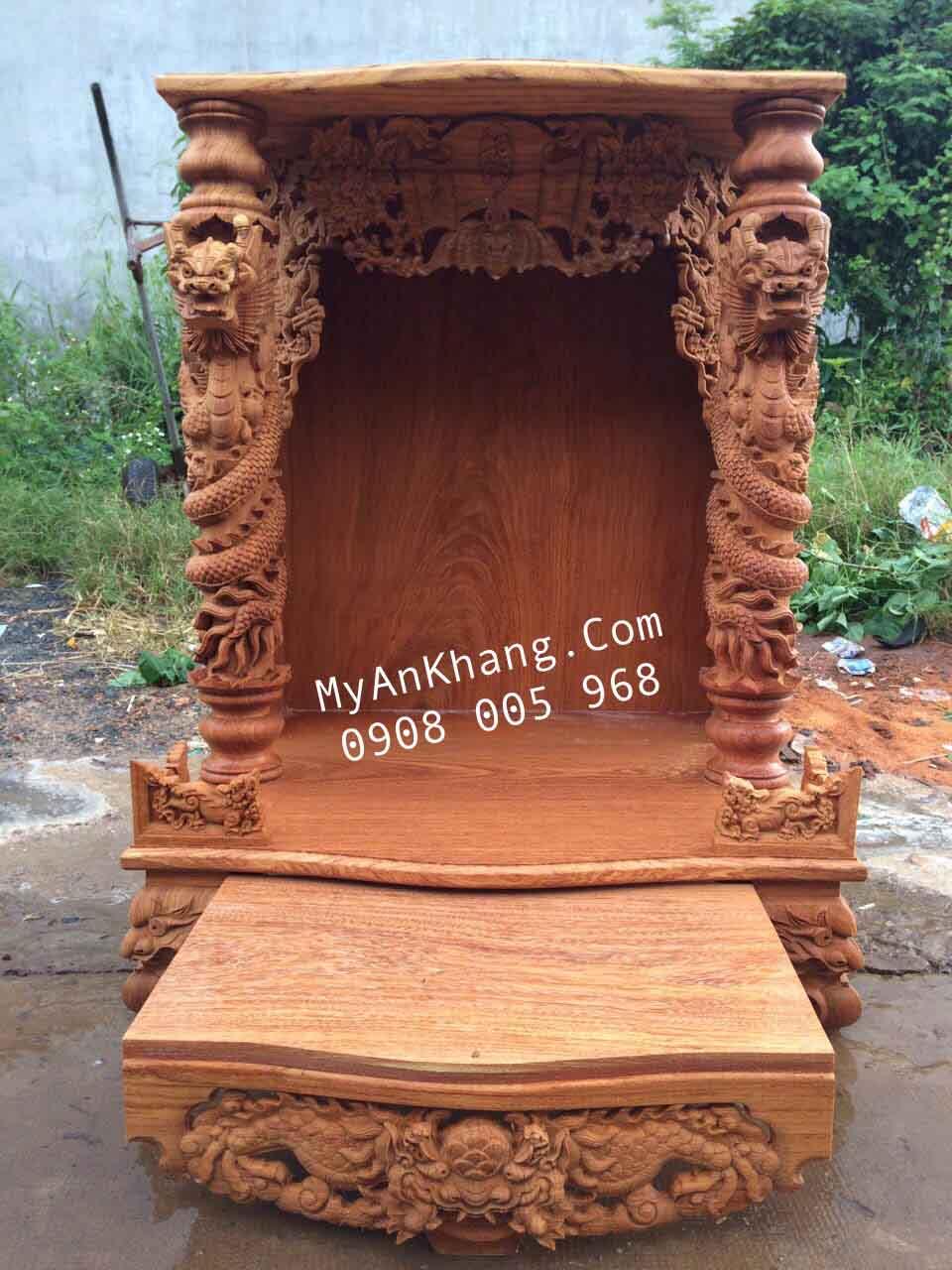 Bàn thờ ông địa mái bằng đẹp tại Hà Nội kt 81 x 68 x 108