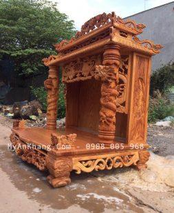 Bàn thờ ông địa mái chùa rộng 108cm gỗ gõ đỏ