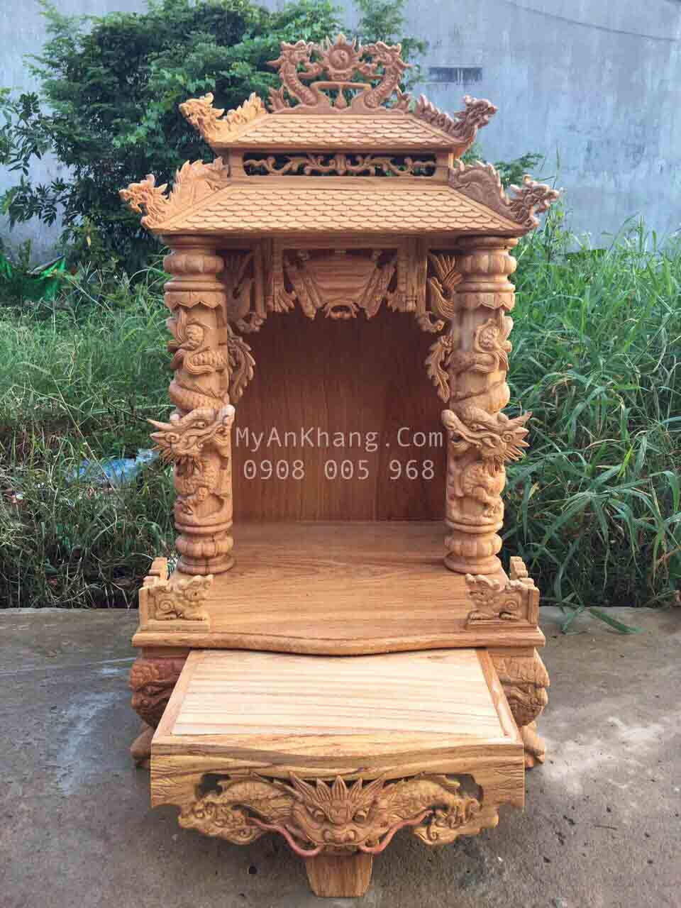 Mẫu bàn thờ thần tài mái chùa đẹp VIP
