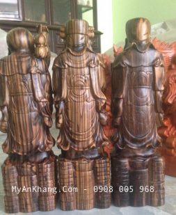 Tượng Phúc Lộc Thọ gỗ mun cao 40cm