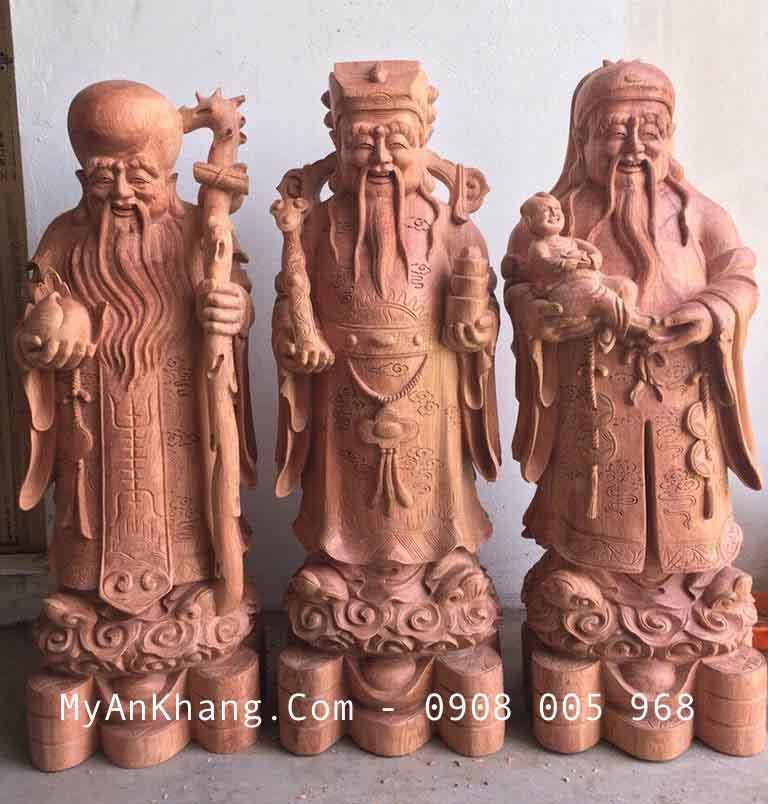 Tượng tam đa đẹp gỗ hương đá cao 90 cm 100 cm