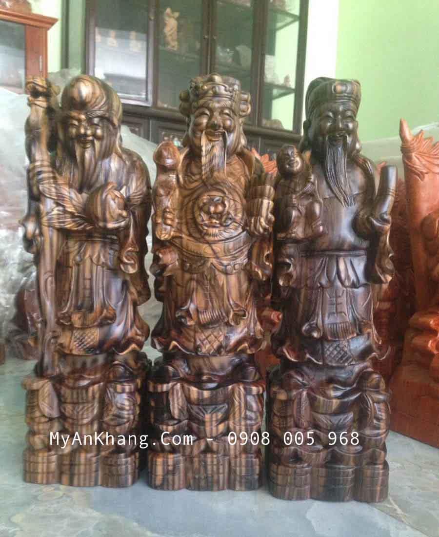 Tượng tam đa gỗ mun cao 40cm đẹp