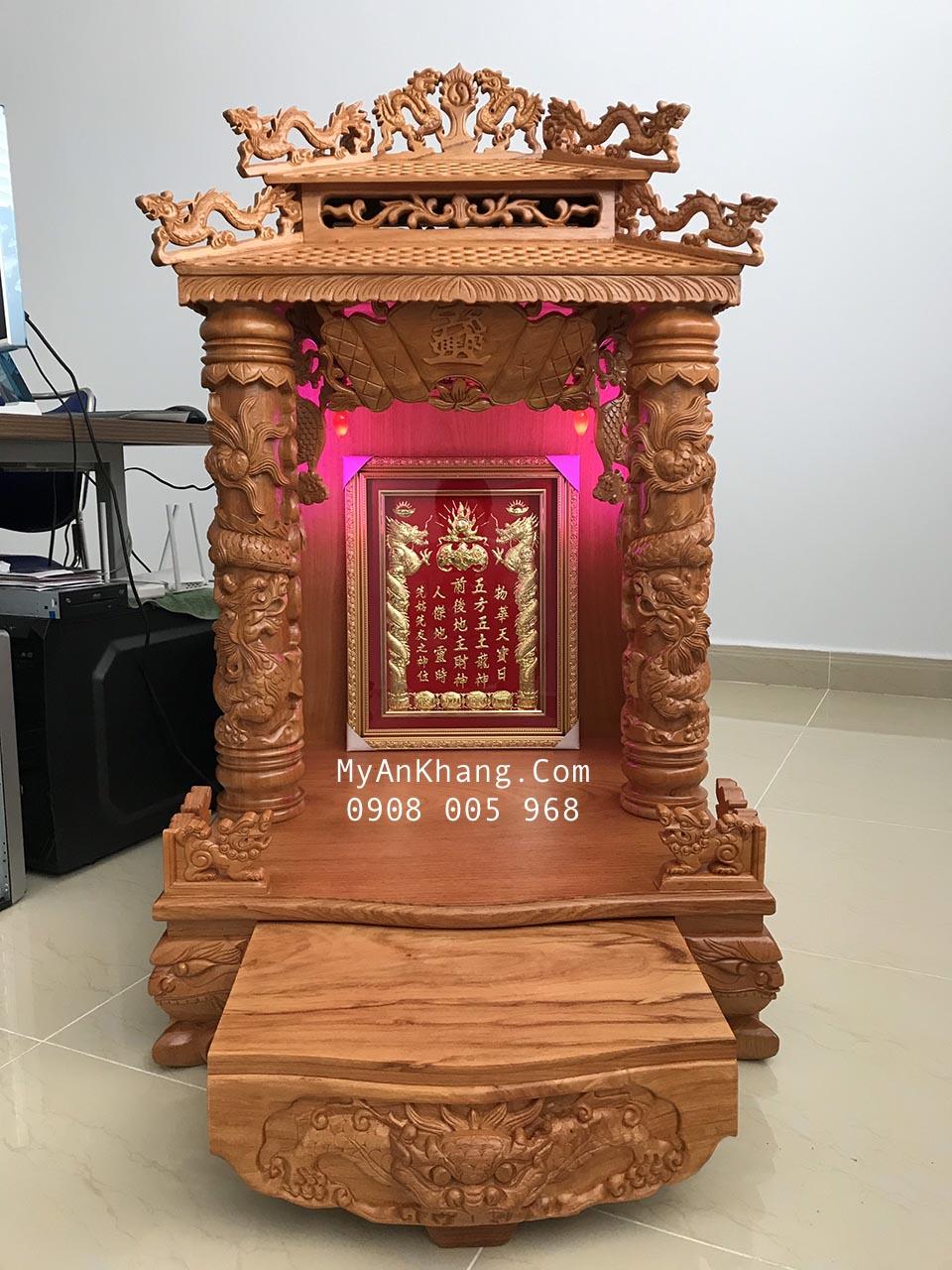 Bàn thờ thần tài mái chùa đẹp gỗ gõ đỏ