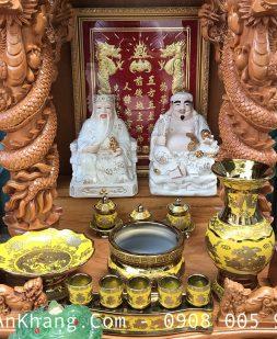 Bộ sứ vàng in 3D đặt bàn thờ thần tài