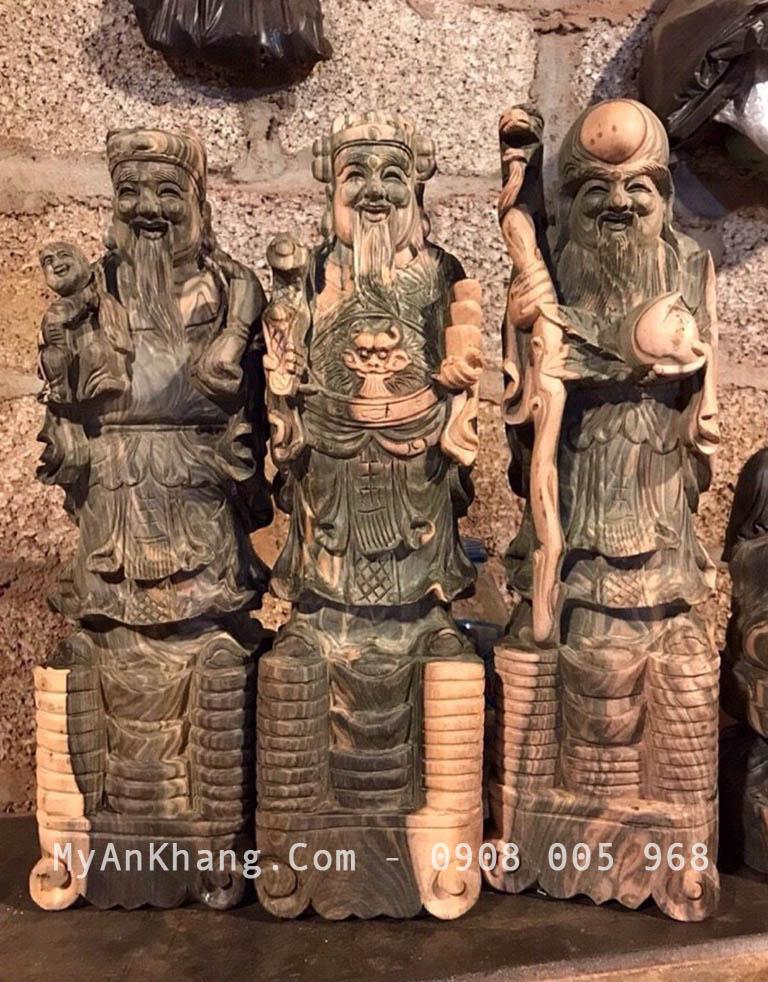 Tượng tam đa gỗ mun mộc 50cm