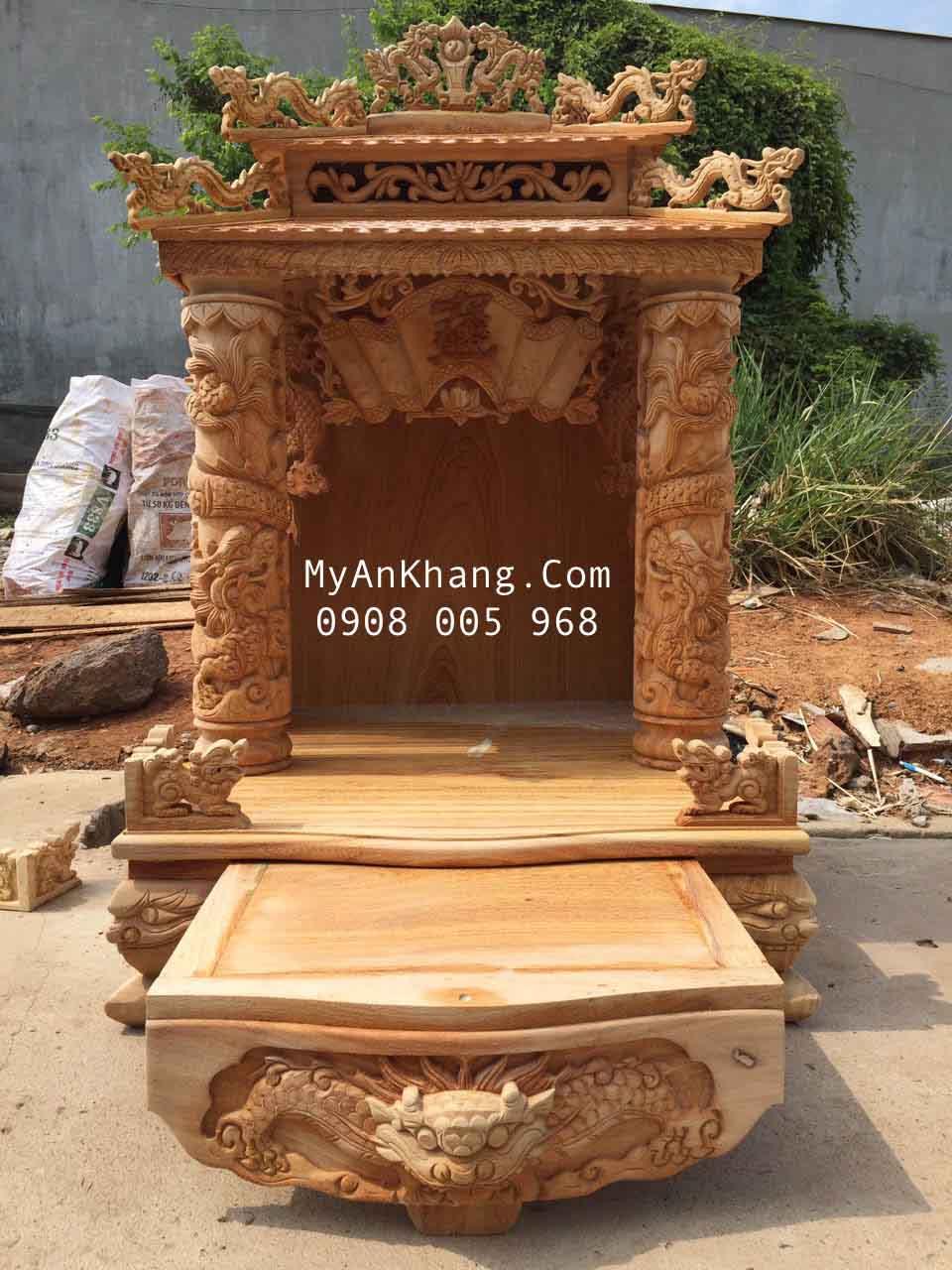 Mẫu bàn thờ thần tài ông địa mái chùa đẹp vip kt 68