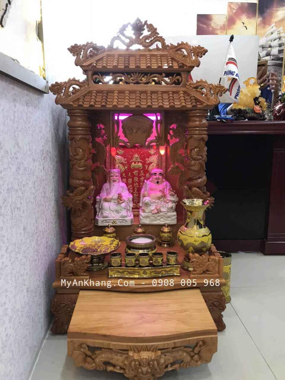 Bài trí bàn thờ thần tài mái chùa đẹp