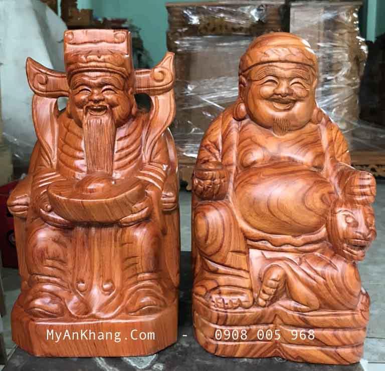 Tượng thần tài ông địa bằng gỗ hương