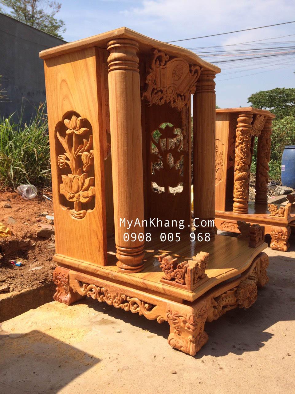 Bàn thờ ông địa đẹp đơn giản cột tròn BTOD-050