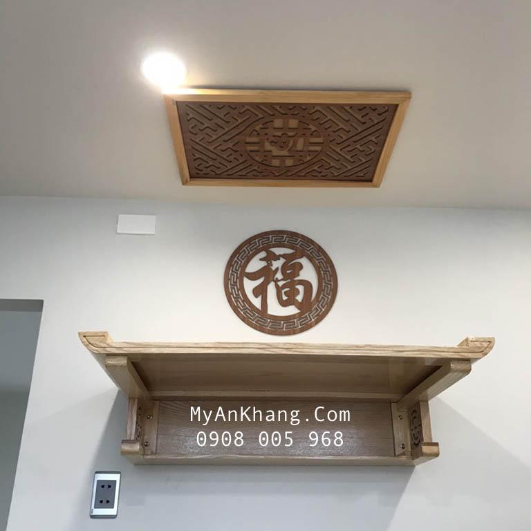 Bàn thờ treo tường gỗ sồi màu sáng hiện đại TT-003