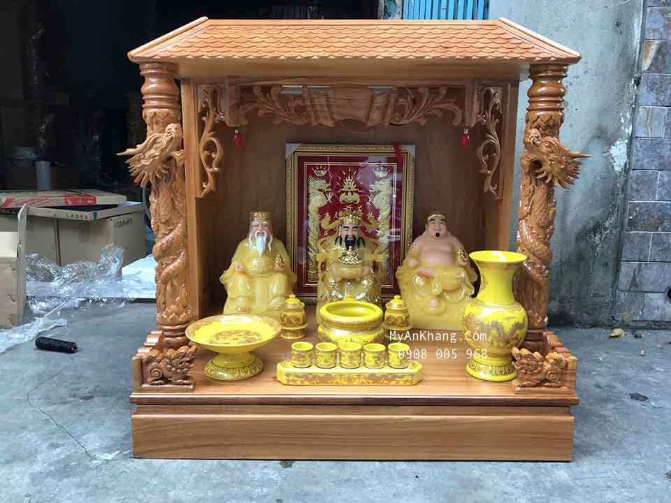 Full Set bộ bàn thờ thần tài ông địa màu vàng ngọc đẹp