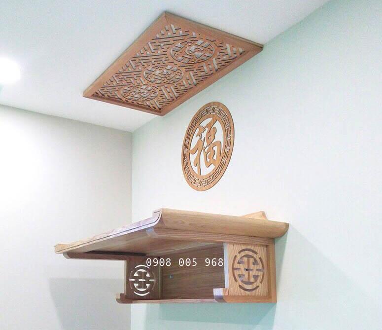 Mẫu bàn thờ treo tường đẹp màu gỗ sồi sáng