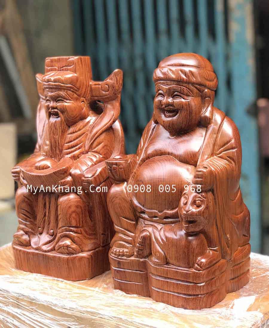 Tượng thần tài ông địa bằng gỗ hương đẹp