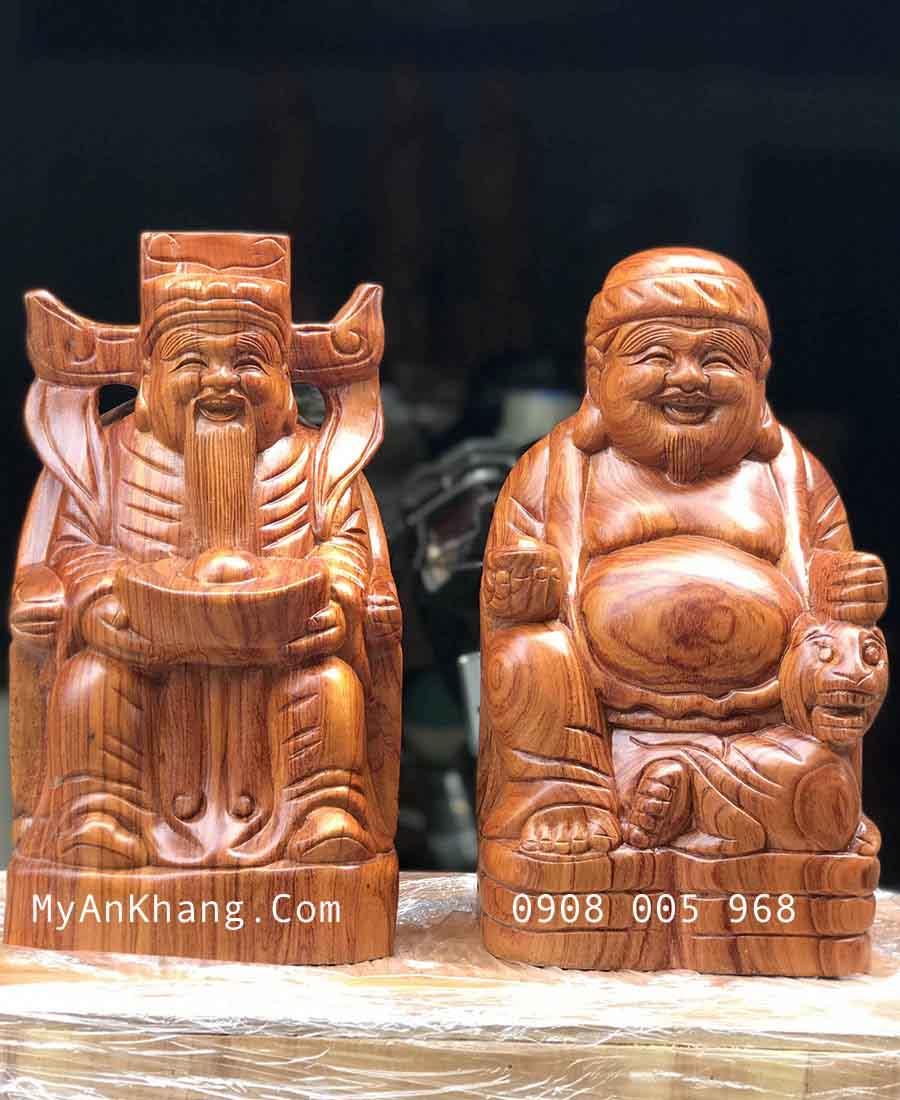 Tượng thần tài thổ địa bằng gỗ hương đẹp