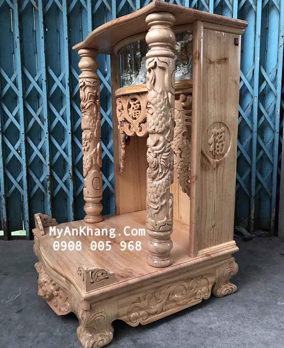 Bàn thờ thần tài hộp đèn gỗ thông