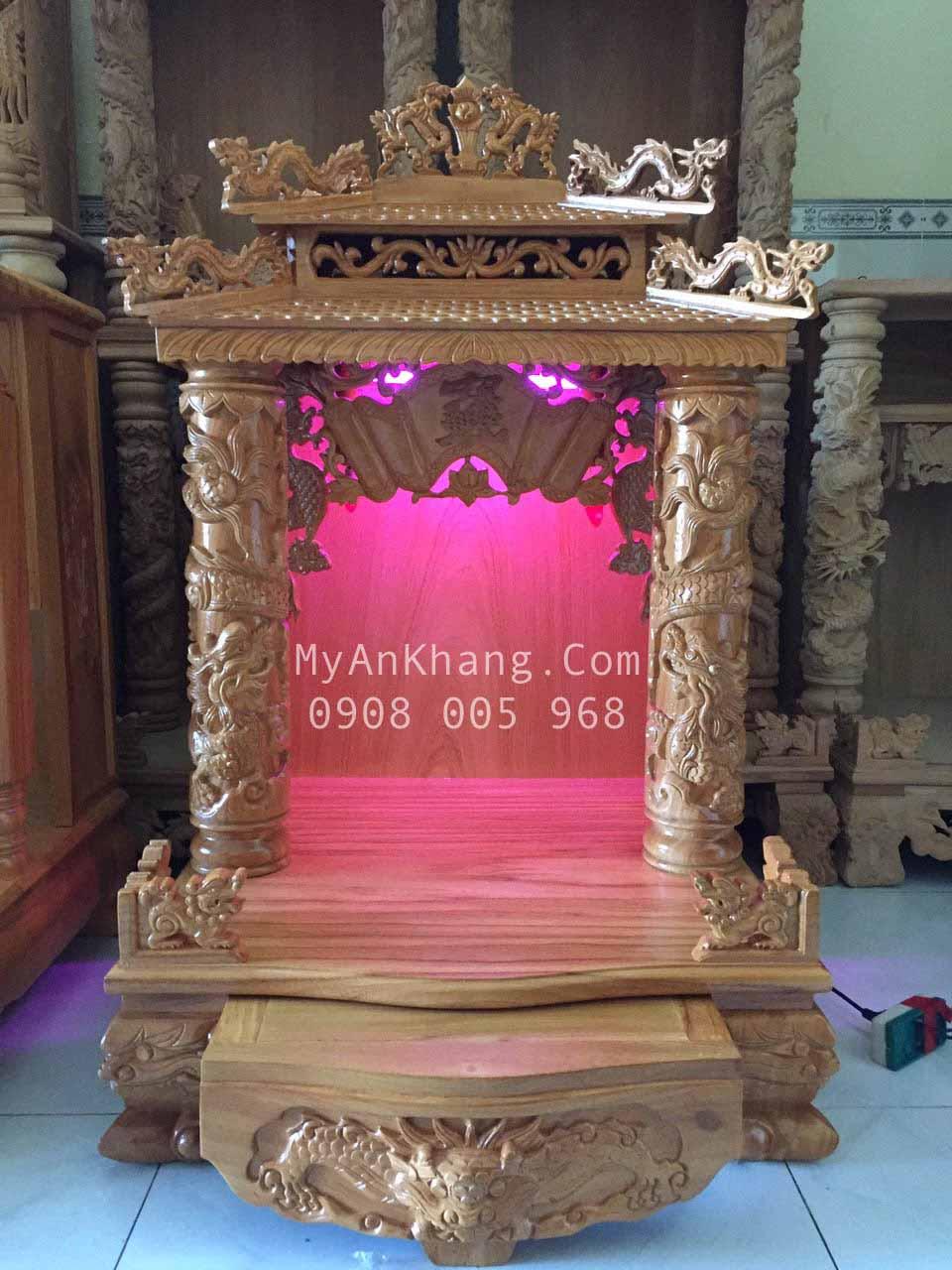Bàn thờ thần tài thổ địa mái chùa đẹp Kiên Giang