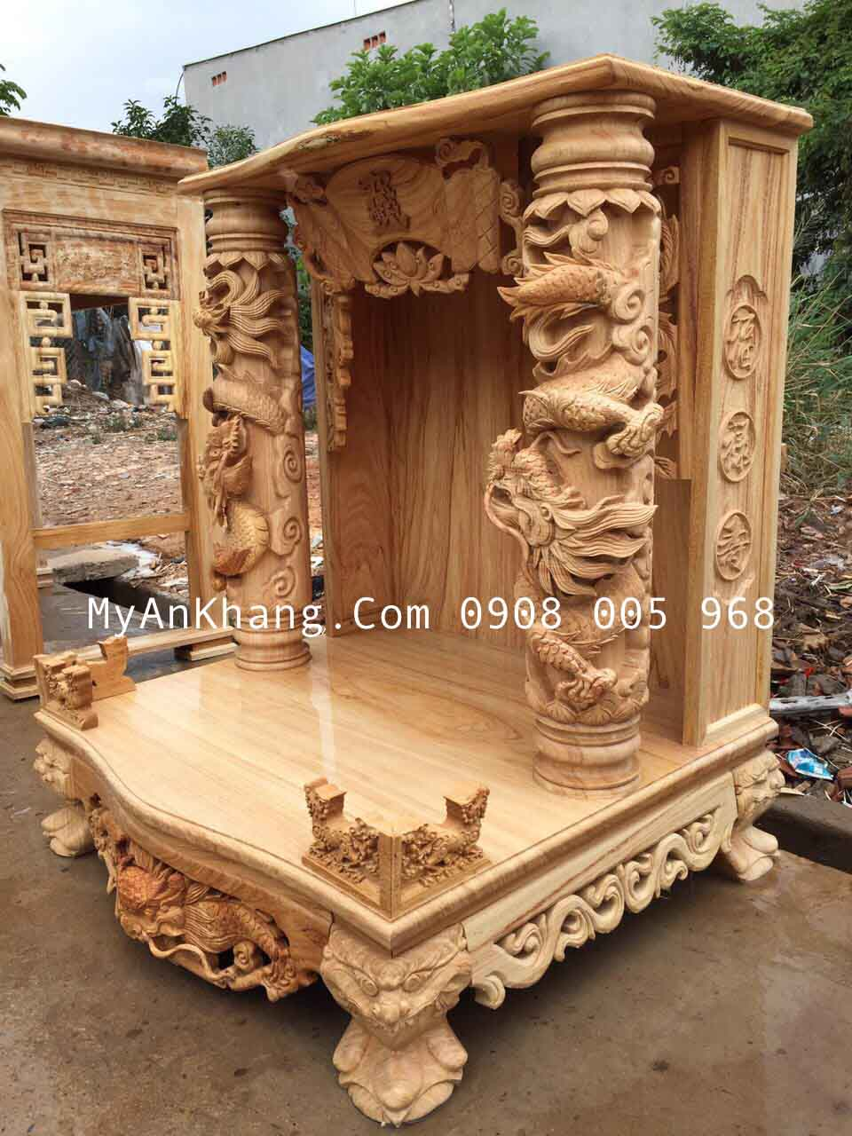 Ảnh mộc bàn thờ thần tài gỗ gõ đỏ đẹp kích thước 89