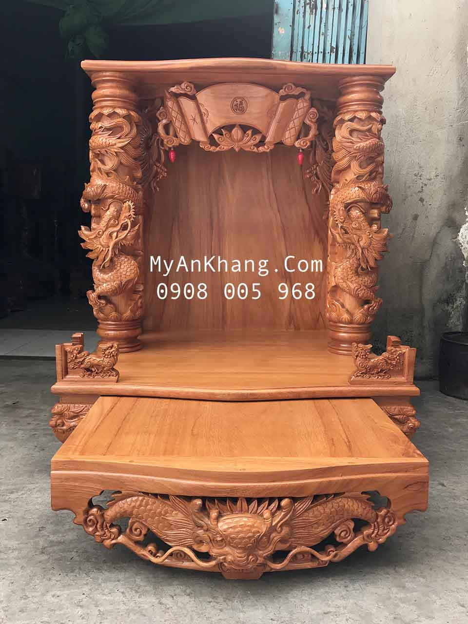 Bàn thờ ông địa đẹp VIP vip 89 gỗ gõ đỏ