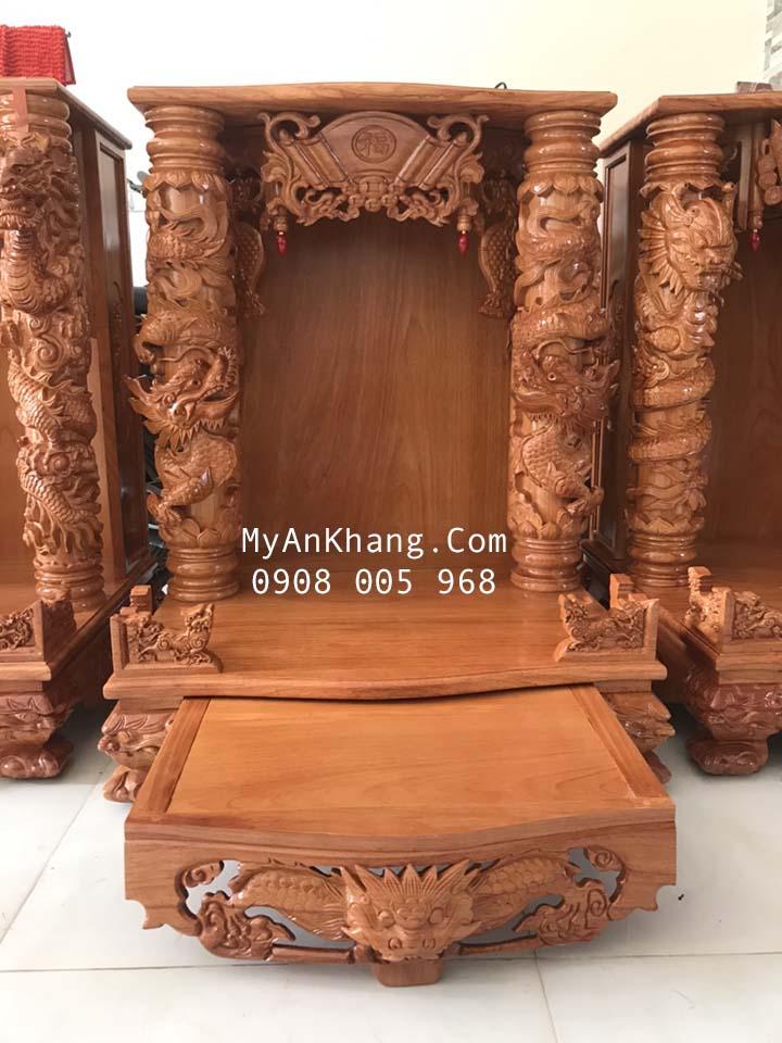 Bàn thờ thần tài đẹp cột rồng đắp nổi kích thước 81 81 107 gỗ gõ đỏ