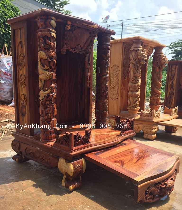 bàn thờ thần tài gỗ cẩm lai để mộc chất