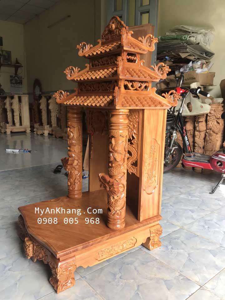Bàn thờ thần tài ông địa 3 mái chùa đẹp gỗ gõ đỏ