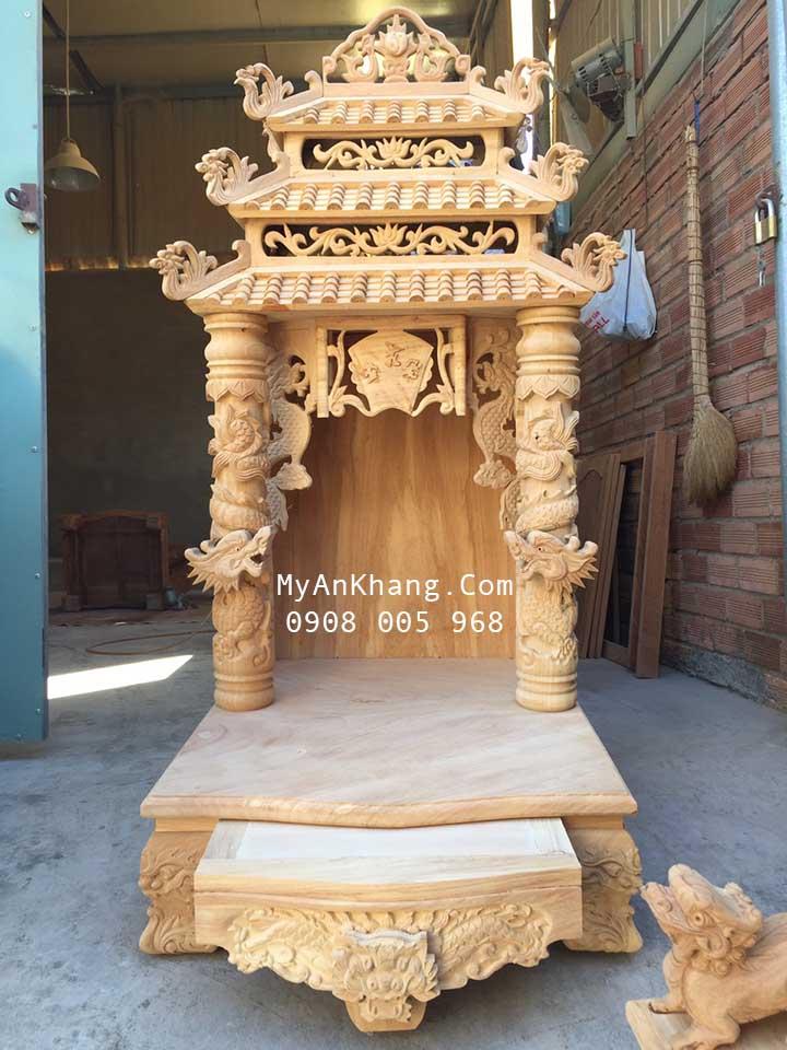 Mẫu bàn thờ thần tài mái chùa 3 mái đẹp nhất