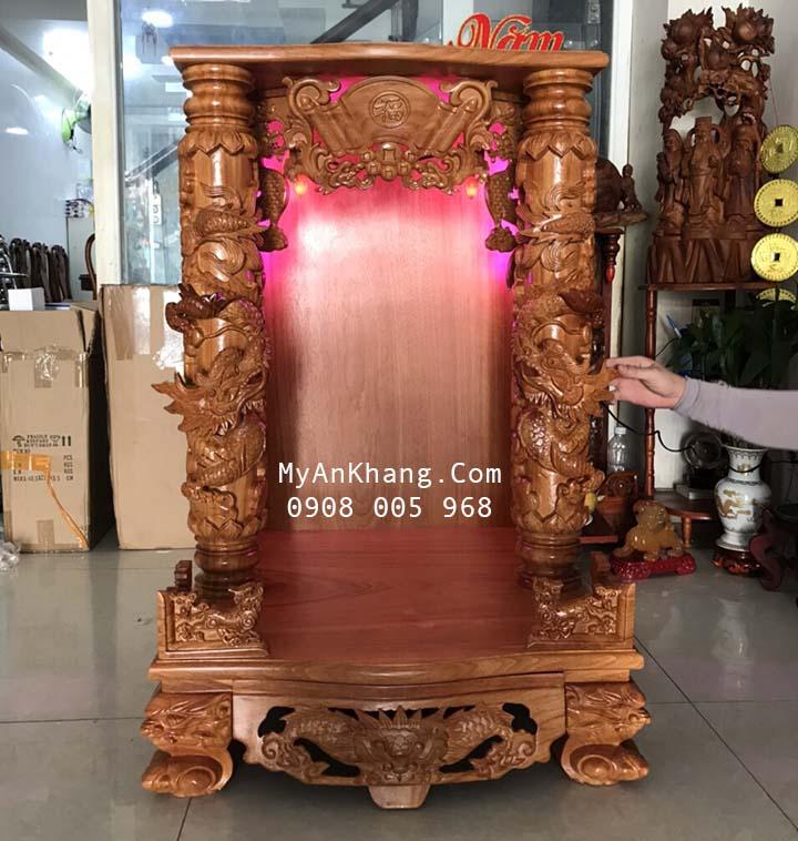 Bàn thờ thần tài gỗ gõ đỏ dày nguyên tấm kt 68 x 68 x 108 vip