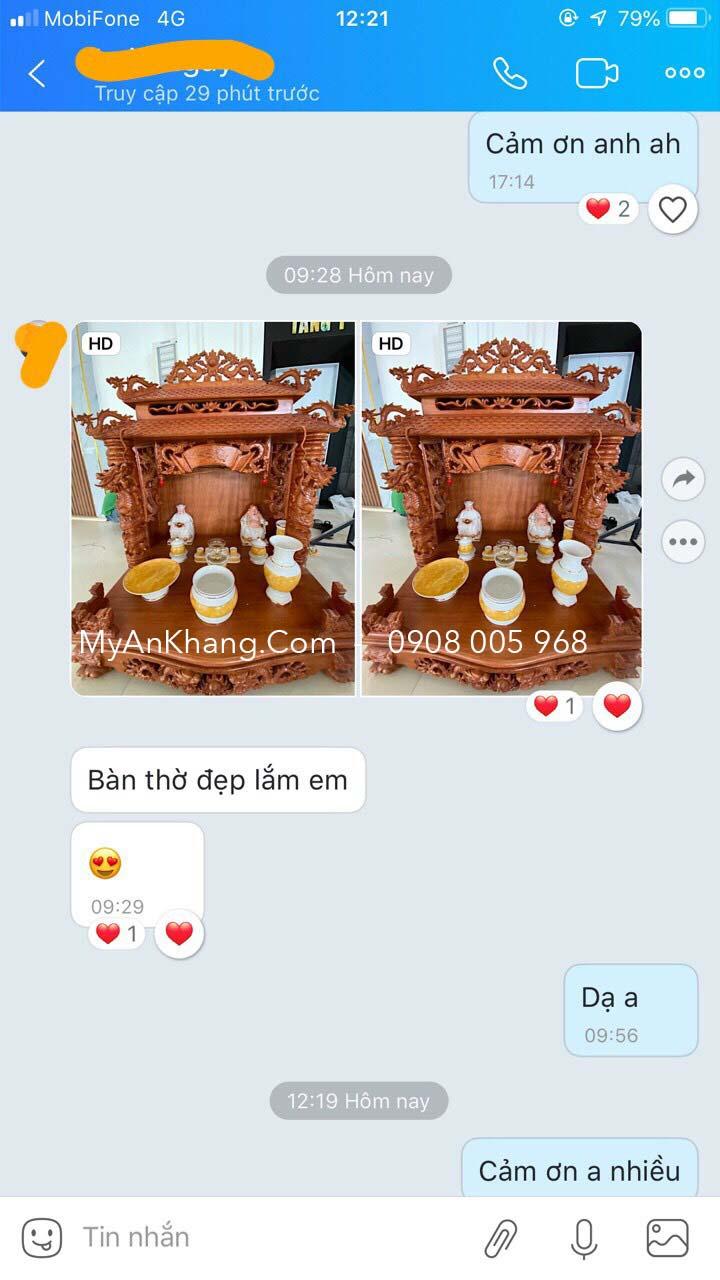 Feedback của khách hàng mua bàn thờ thần tài tại Quy Nhơn, Bình Định