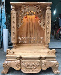 Bàn thờ ông địa gỗ tần bì đẹp BTOD 059 mẫu cột vuông CV1