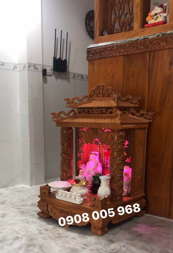 Tủ thờ thần tài mái chùa tại Đồng Tháp